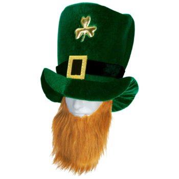 Velvet Leprechaun Hat With Beard-0