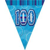 100th Birthday Blue Flag Bunting-0