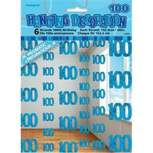 100th Birthday Blue Hanging Decoration-0