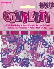 100th Birthday Pink confetti-0