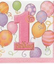 First Birthday pink Napkins-0