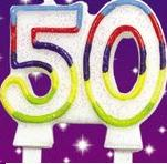 Double Sided 50th Birthday Candle-0