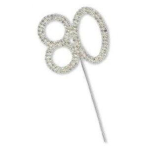 Diamante 80th Birthday Cake Topper Decoration 0