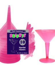 Pink Plastic Martini Party Glasses-0