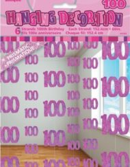 100th Birthday Pink Hanging Decoration-0