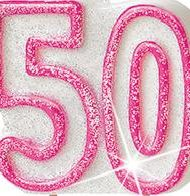 50th Birthday Candle Pink-0