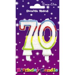 Double Sided 70th Birthday Candle Multi Colour-1952