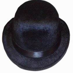 Black Velour Bowler Hat-0