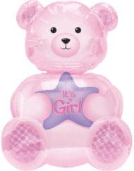 It's a Girl Teddy Supershape Foil Balloon -0