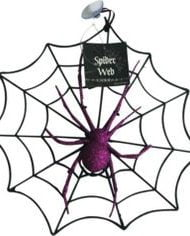 Glittery Spider Web Halloween Decoration-0