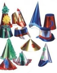 Assorted large metallic party hats (50's)-0