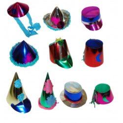 Assorted metallic medium party hats (50's)-0