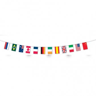 Multi Nations Flag Fabric Bunting - 5m-0