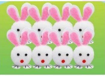 8 Easter Pom Pom Bunnies 5cm -0
