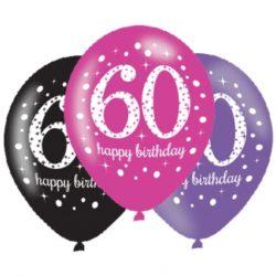 Pink Celebration 60th Happy Birthday Latex Balloon-0