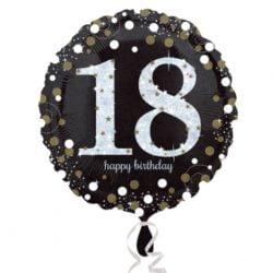 Black & Gold 18th Birthday Standard Foil Balloon-0