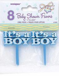 8PK ITS A BOY BLUE CAKE PICKS-0