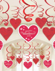 Red & White Hearts Swirl Decorations-0