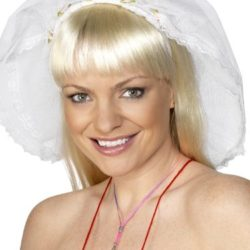 Hen Night Veil with Headband - White-0