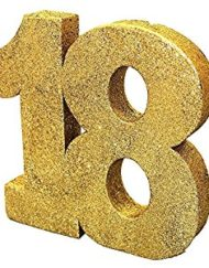 GOLD GLITTER NUMBER TABLE DECORATION - AGE 18-0