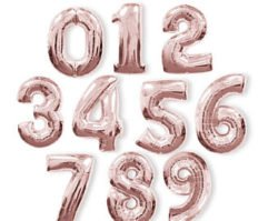 Rose Pink foil number balloon-2693