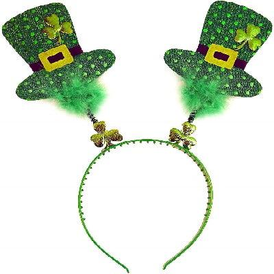 Happy St Patrick/'s Day Green Top Hat Head Bopper Headband /& Ireland Flag